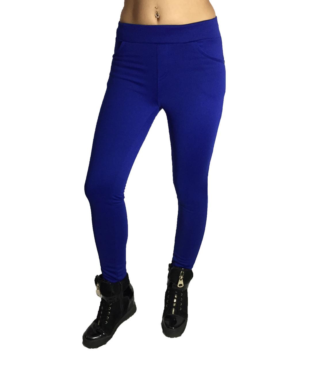 Женские брюки № 151 дайвиг-начес синие НОРМА