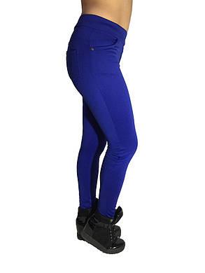 Женские брюки № 151 дайвиг-начес синие НОРМА, фото 2