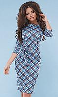 Трикотажное платье футляр миди с рукавами 3/4 и поясом