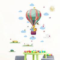 """Декоративные наклейки для детского сада, в детскую """"звери на на воздушном шаре"""" 118см*85см (лист50*70см)"""
