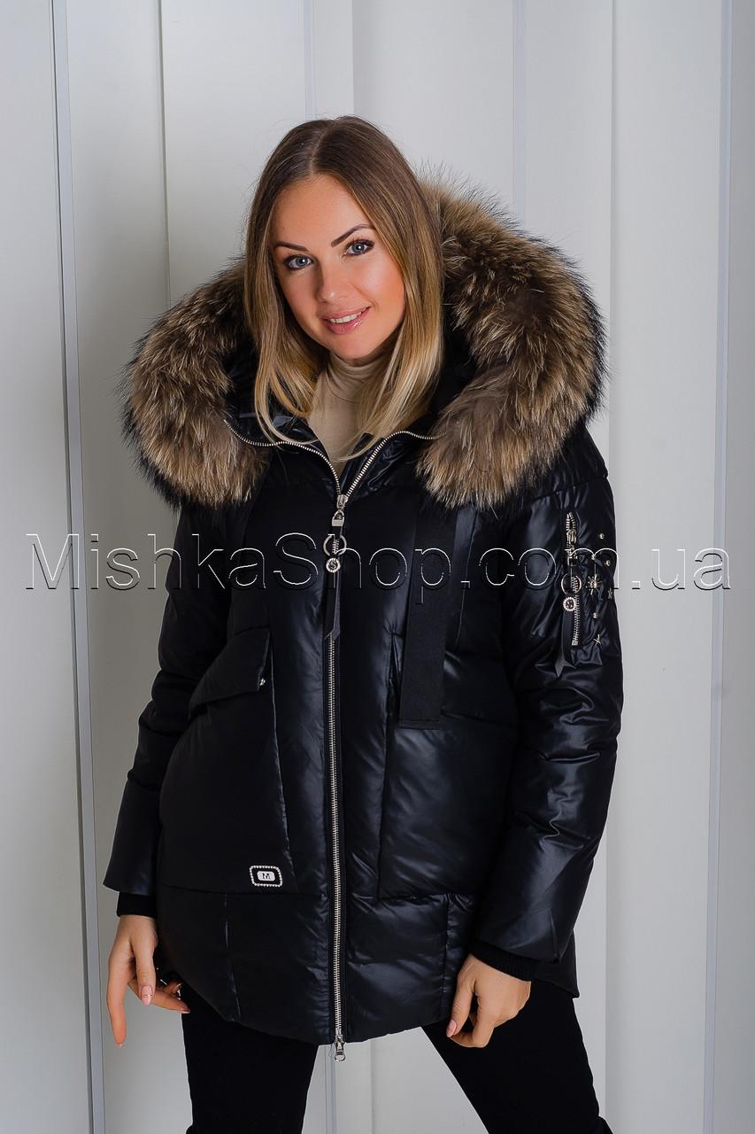 Шикарная зимняя куртка черного цвета с натуральным пышнейшим мехом енота Vo-Tarun Y020-818