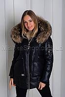 Шикарная зимняя куртка черного цвета с натуральным пышнейшим мехом енота Vo-Tarun Y020-818, фото 1