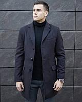 """Демисезонное мужское кашемировое пальто """"Батя"""" темно-коричневое - S"""