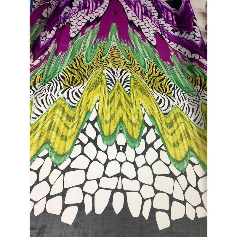 Шифон принт - абстракция черным, белым, фиолетовым, желтым, зеленым, цветами