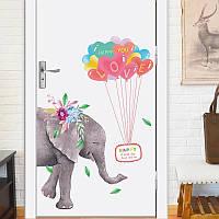 """Наклейки в детский сад, в детскую на дверь, шкаф """" Слон летит на воздушных шариках!"""" 92см*88см (лист60*90см)"""