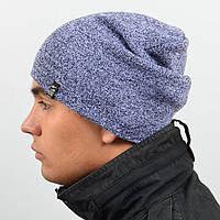 Молодежная шапка Nord унисекс удлиненная серый с белым (669)