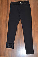 Утеплённые,чёрные, стрейчевые брючки-СКИННИ для девочек.Размеры 140-170 см .Фирма GRACE.Венгрия, фото 1