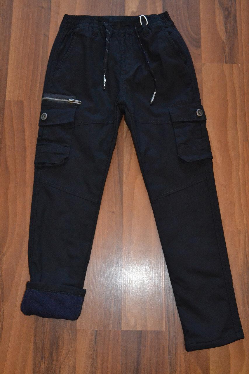 УТЕПЛЁННЫЕ,чёрные,Котоновые брюки с накладными карманами на флисе для мальчиков.Размеры 134-152 см.Фирма S&D