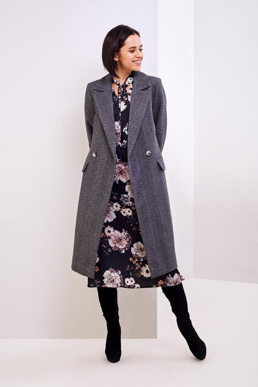 Осеннее пальто в елочку 42,44,46 размеры