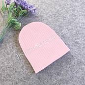 Светло-розовая теплая двойная шапка в рубчик 40-53см