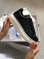 ✔️ Кроссовки женские Alexander McQueen Black Glitter Platform - Александр Маккуин