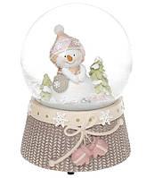 Декоративный водяной шар Снеговичок 14.5см с музыкой на заводном механизме