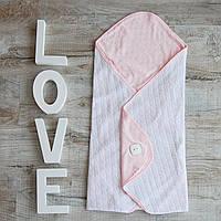 Вязаный детский конверт-одеяло с розовой подкладкой. Эксклюзив.