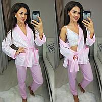 Пижама женская Тройка-пиджак брюки кружевной топ 42-44,46-48,50-52,52-54