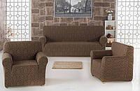 Чехол на диван и два кресла Karna Турция Коричневый