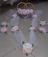 """Свадебный комплект украшений для авто """"Эконом"""" (бело-розовый)"""