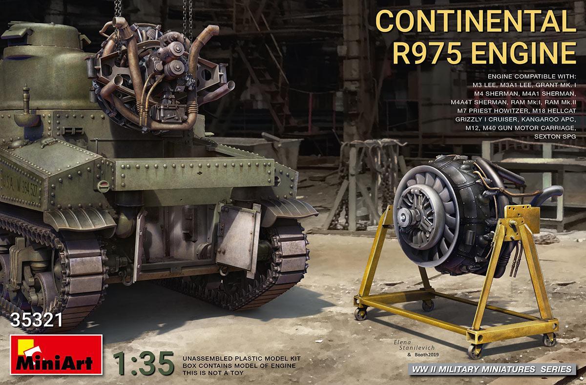 Двигатель с воздушным охлаждением Continental R975. Сборная модель.  1/35 MINIART 35321