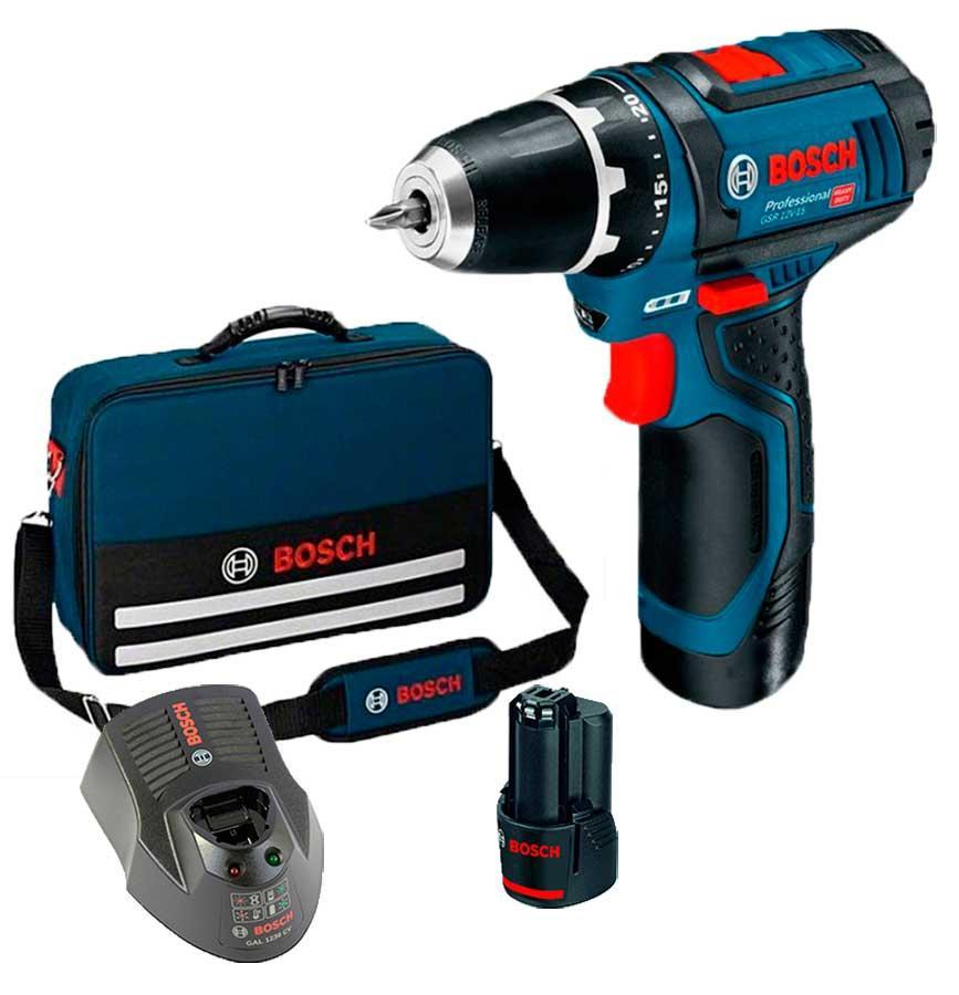 Аккумуляторный шуруповерт Bosch GSR 12V-15 + 2 акб 1,5Ah + зу GAL 1230 CV + сумка (06018681AA)