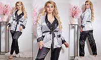 Пижама женская шелковая Тройка-пиджак брюки кружевной топ 50-52, 52-54