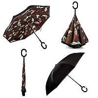 """Зонт обратного сложения, зонт наоборот """"Листья"""" (F711 бордовый)"""
