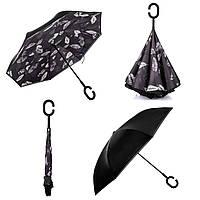 """Зонт обратного сложения, зонт наоборот """"Листья"""" (F711 черный)"""