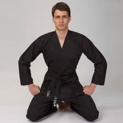 Кимоно для каратэ черное MATSA MA-0017 (хлопок-плотность 240г на м2, размер 0-7, рост-130-200см