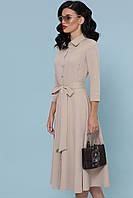 Платье полуприталенное  офисное  с юбкой-полусолнце  рукав3/4 планка с пуговицами  миди GLEM платье Ефимия д/р