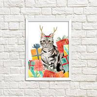 Постер в рамці Новорічний котик (WMT5_20NG007)