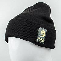Молодежная  шапка c нашивкой Nord Pitbull черная (9564)*