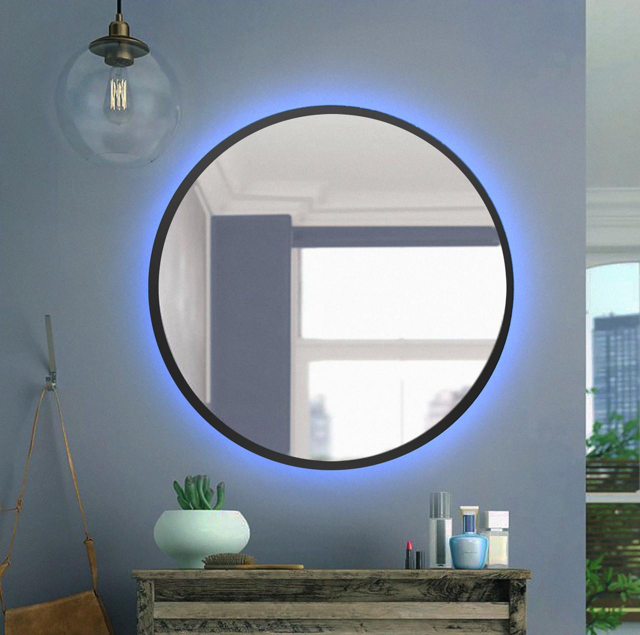 Черное круглое зеркало с Led подсветкой 800 мм