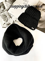 Комплект женская шапка + шарф (хомут снуд) черный