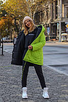 Двухсторонняя теплая женская куртка плащевка батал