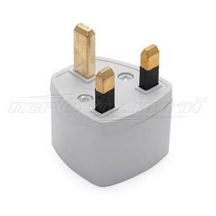 Универсальный электрический сетевой переходник 13A US EU to UK (Британия), белый, фото 2