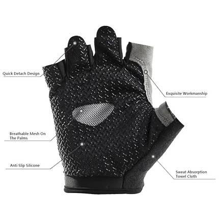 Женские перчатки DFGUS для фитнеса черные с серым размер М, фото 2