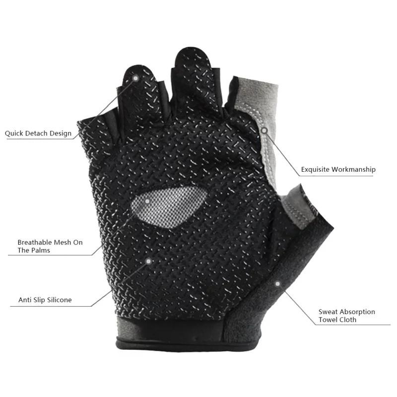 Жіночі рукавички DFGUS для фітнесу чорні з сірим розмір М