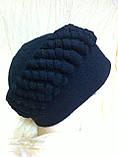 Шапка бордовая из мягкого фетра украшенная объёмным украшением, фото 8