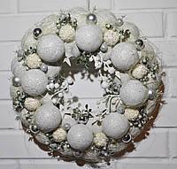 Венок новогодний из шаров. Белый, фото 1