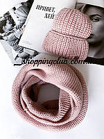 Комплект женская шапка + шарф (хомут снуд) розовый