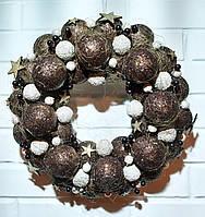 Венок новогодний из шаров. Коричневый, фото 1