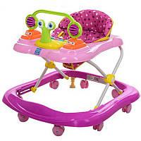 Ходунки M 3663 BAMBI музыка, свет, колеса 8 шт, стопор 2 шт,розовый