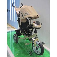 Велосипед 3-х колес TR17012 БЕЖ (1шт) складной козырек,надувные колеса 12'' и 10''