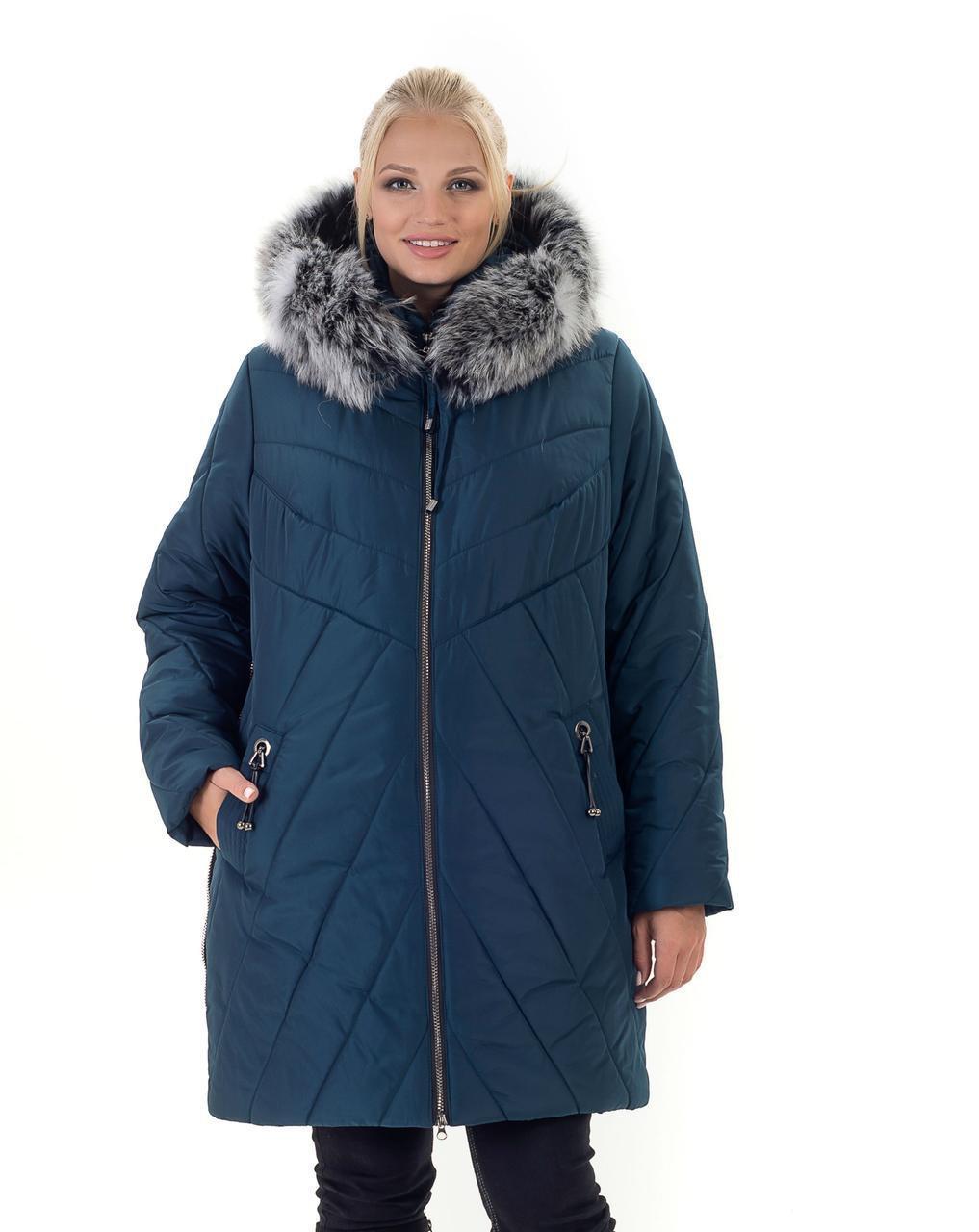 Модная зимняя женская куртка  с шикарным натуральным мехом батал с 56 по 70 размер