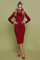 Платье прилегающего силуэта юбка-карандаш со шнуровкой миди бордовое GLEM платье Таяна д/р