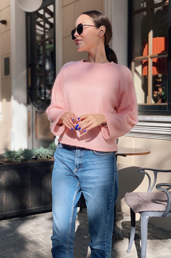 Женская красивая укороченная ворсистая ангоровая кофта свитер норма и батал большие размеры