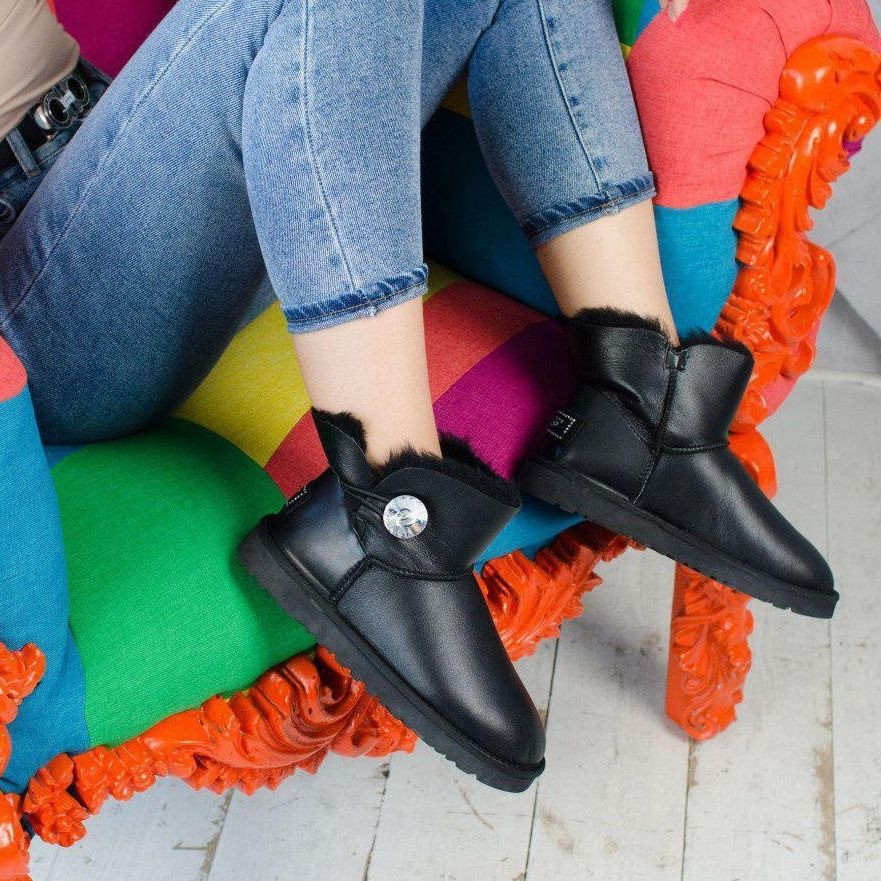Угги женские в стиле UGG Australia Mini Bailey Button Black