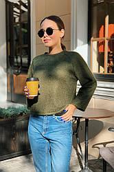 Женская красивая укороченная ворсистая ангоровая кофта свитер