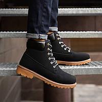 Мужские зимние ботинки Timberland, (Лютер, мужские, текстильный нубук, черные коричневая подошва)