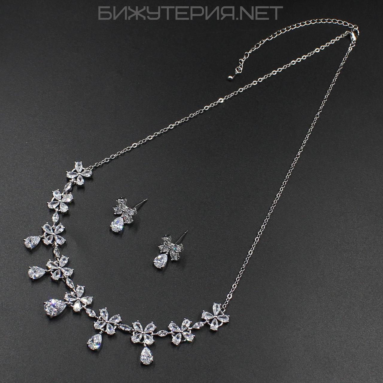 Комплект бижутерии JB Колье и Серьги декорирован цветочками с кристаллов - 1054202686