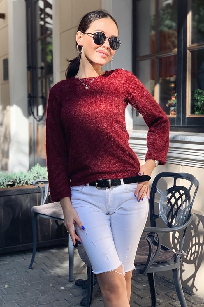 Женская приталенная укороченная ворсистая ангоровая кофта свитер норма и батал большие размеры