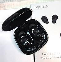 Беспроводные Bluetooth наушники HBQ XG12 с микрофоном и магнитным зарядным кейсом черные